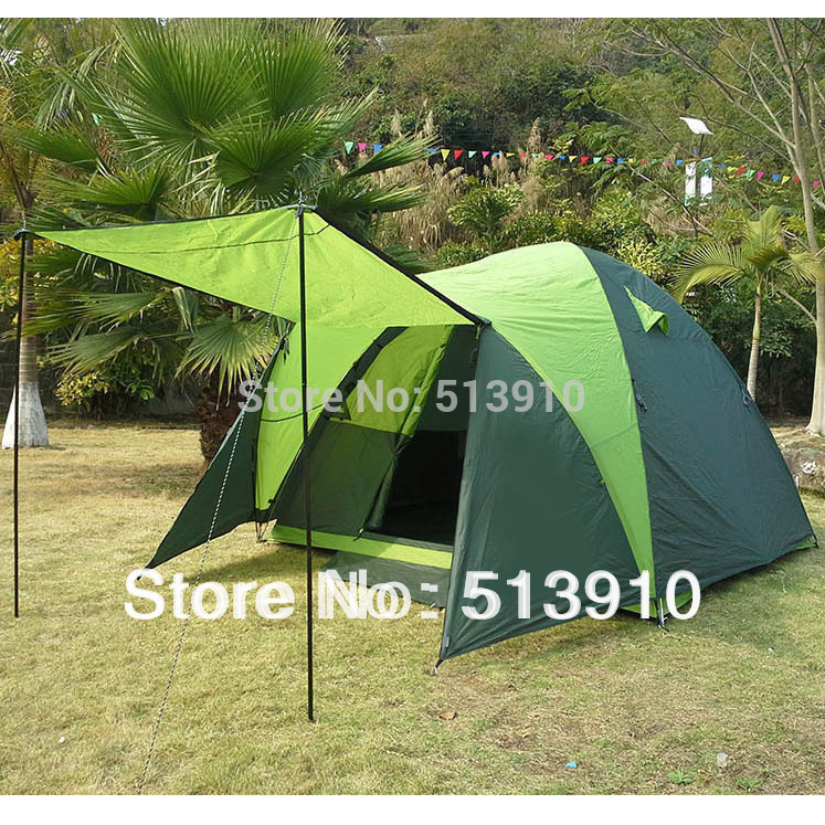 Green World!5 Persons double layer anti-storm large family outdoor camping tent/nice color for spring travel<br><br>Aliexpress