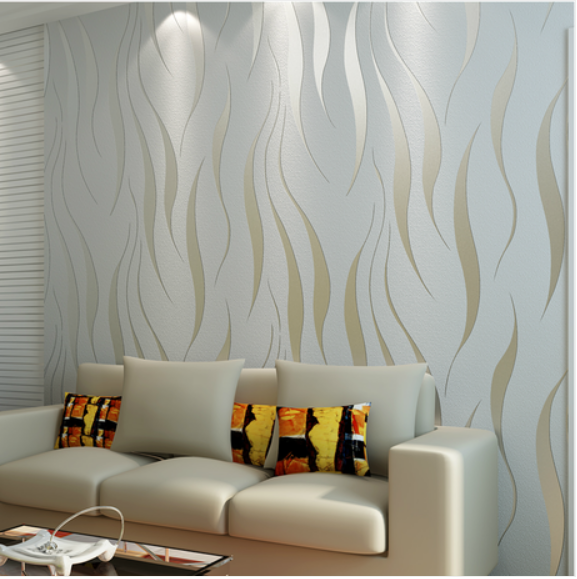 Fashion Style 3D Crescent Wave Stripes Embossed Non-woven Flocking Wallpaper Modern Simple Furniture Warm Metope Bathroom Office(China (Mainland))