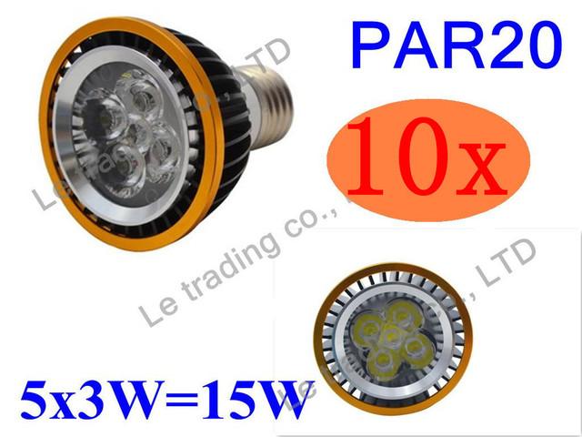 10Pcs/lot Par20 Led Lamp E27 Dimmable 5X3W 15W Spotlight Led Light Led Bulbs 85V-265V Energy Saving Free shipping