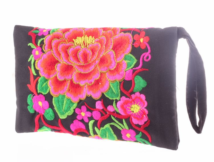 Women National Long Wallet Chinese Style Embroidery Floral Wallets for Women Clutch Coin Purse Embroidery Flower Purse(China (Mainland))
