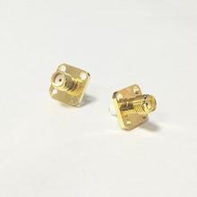 Jack para mujer SMA conector coaxial RF agujeros brida de poste de la soldadura Goldplated recto nueva venta al por mayor