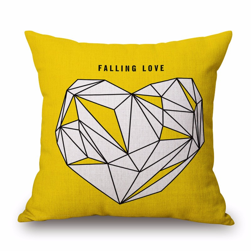 Cotton Linen Pillow Cover Couple LOVE Yellow Geometric English Letter Cushion Cover Home Decorative Pillow Case 45x45cm