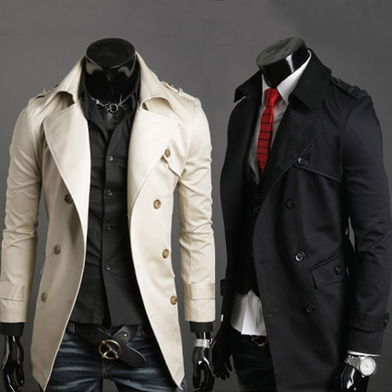 2016 explosion models warm winter men's fashion long trench coat / men's long sleeve coat high-end double-breasted windbreaker(China (Mainland))