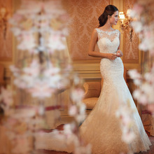 2015 heißer verkauf spitzen meerjungfrau hochzeitskleid sexy brautkleid benutzerdefiniertes format 2-4-6-8-10-12-14-16-18 wd1504(China (Mainland))