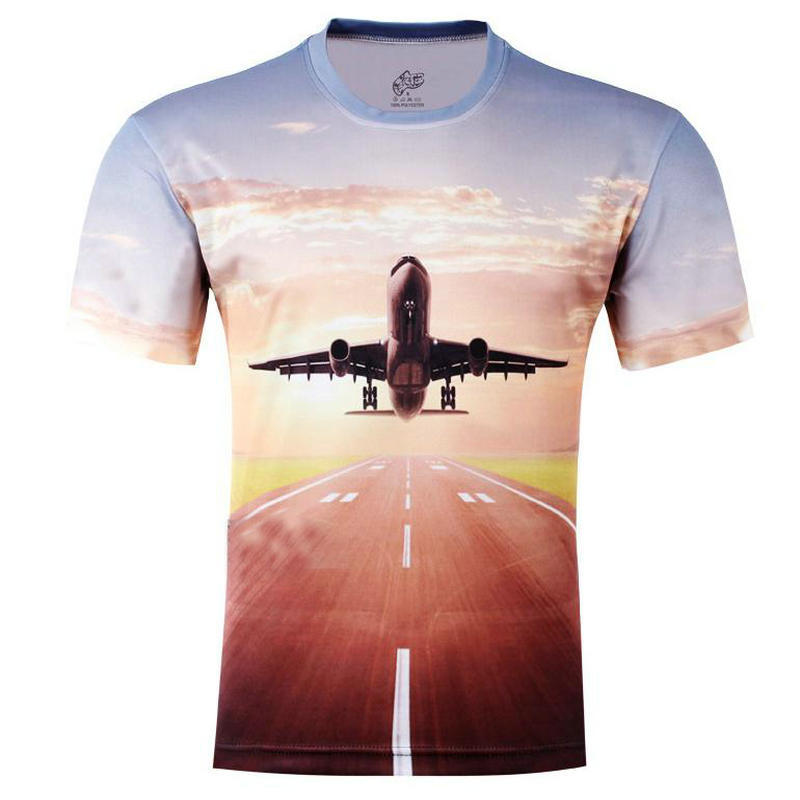 wholesale new fashion men 3d t shirt summer fighting plane printing summer 3D t-shirts large size S-6XL()