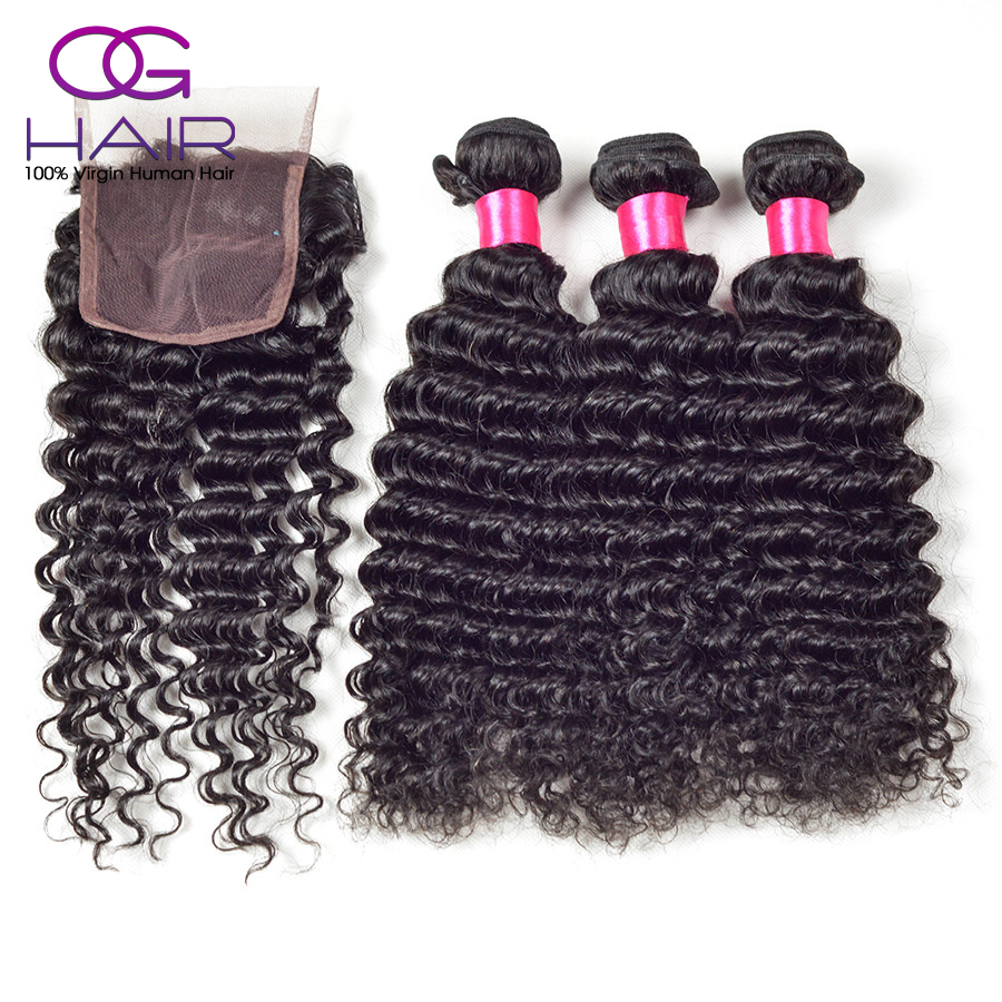 Peruvian Virgin Hair With Closure 3 Hair Bundles With Lace Closures Unprocessed Human Hair Weave Peruvian Deep Wave With Closure