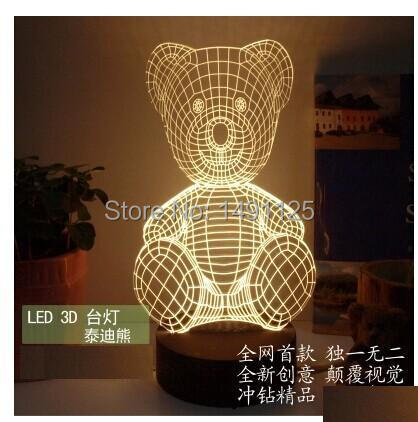 2D 3D fusion creative new LED boutique lamp bedside lamp Tactic bear den Nightlight(China (Mainland))