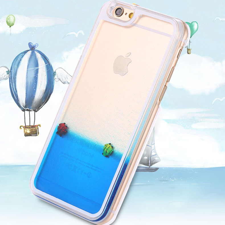Slim Transparent Clear Case For iphone 6 Sea World Cellphone Hard Back Cover For Apple iphone 6 Plus With Liquid Fish Moving(China (Mainland))