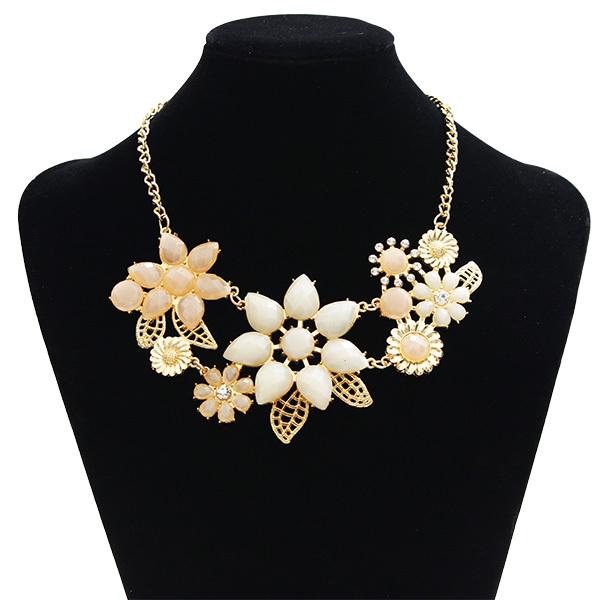F&U Statement Choker Enamel Flower Necklace Zinc Alloy Metal Chain Pendants 2017 New Jewelry Women Accessories Necklace