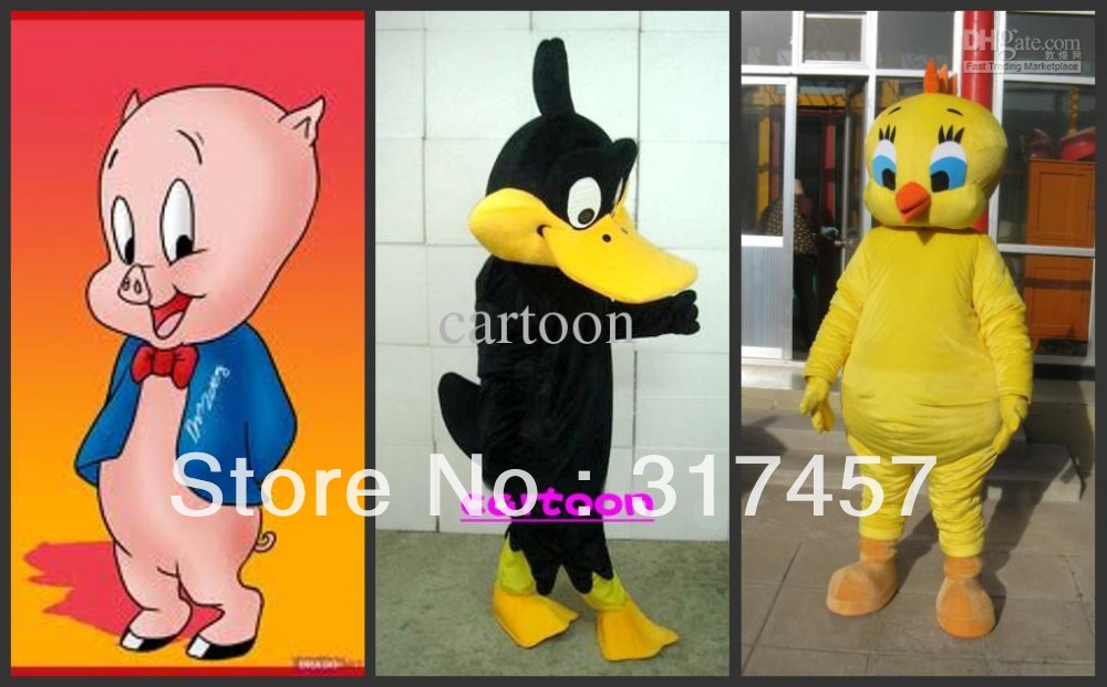 porky pig & daffy duck and tweety pie Mascot Costume Adult Character Costume Cosplay mascot costume free shipping(China (Mainland))