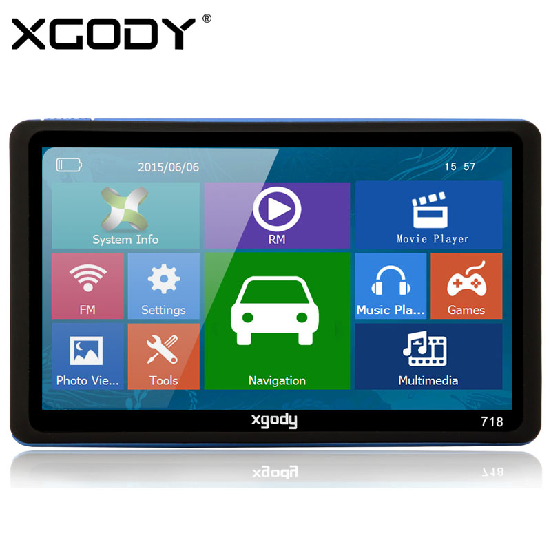 XGODY 718 7 inch Car Truck GPS Navigation 128MB RAM + 8GB ROM FM Navigator with Sunshade 2015 Europe America Maps(China (Mainland))