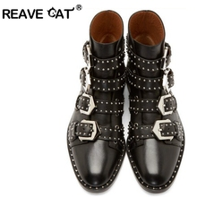 REAVE CAT Brand Genuine leather Motorcycle boots Biker Shoes Women Pointed Snow Boots Brand Shoe Famous Designer Woman Flats(China (Mainland))