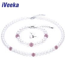 iVeeka jewelry sets natural pearls necklaces set bracelet 925 sterling silver stud earrings 2016 Trendy Gifts for Mom(China (Mainland))