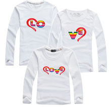1 piece 100% Cotton Letter Tops Family Matching Clothing Couple T Shirt Matching Mother Son Clothes White Women Men Kid T-Shirts
