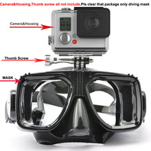 Top Gopro diving mask one piece built-in camera mount dive mask XIAOMI,SJ,GOPRO HERO CAMERA MASK quality silicone snorkel gears(China (Mainland))