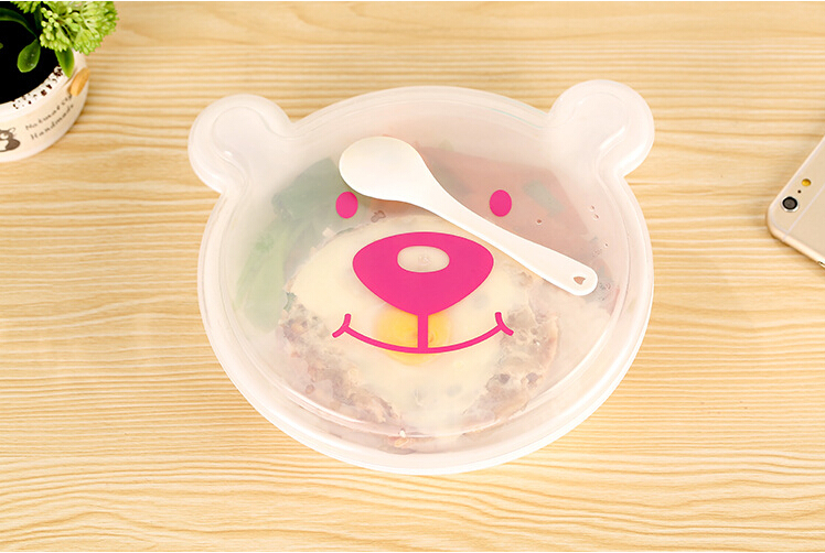 2015 New Arrival Cute Teddy bear shaped fashion cartoon students lattice plastic lunch box Children loved Dinnerware Set 1 piece(China (Mainland))