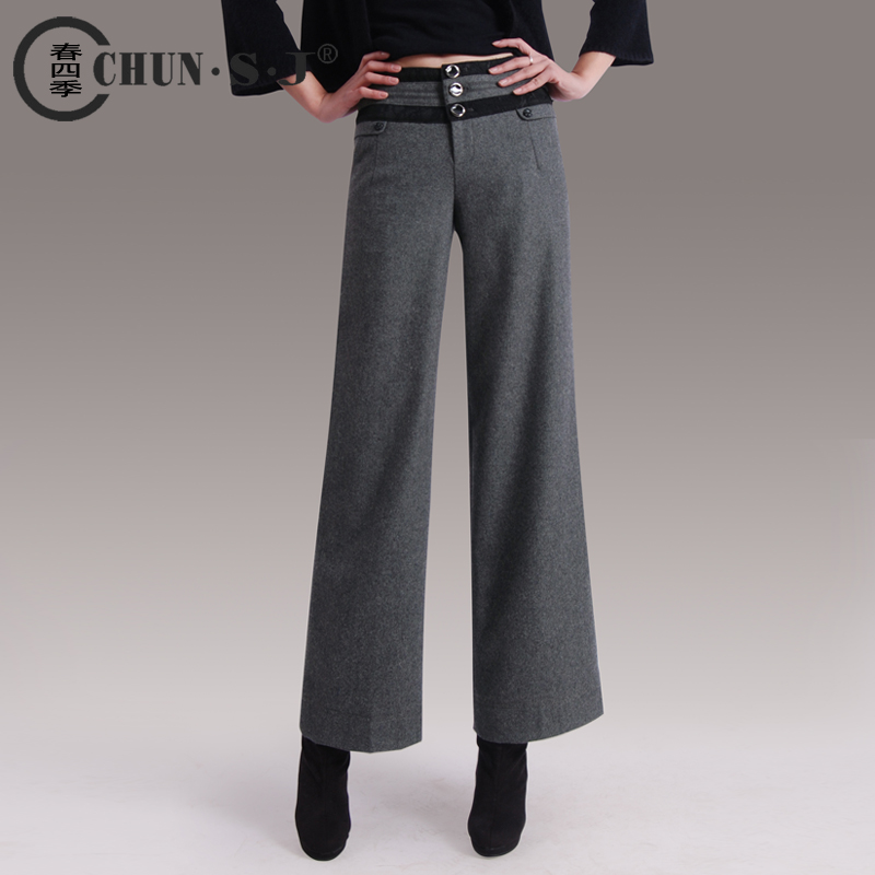Autumn Winter Women Formal Warm Wool Loose Trousers Thickening Boots Pants Plus Size Wide Leg ...