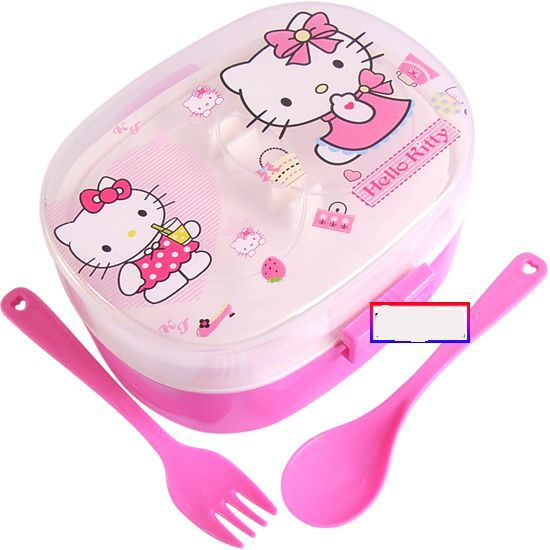 FREESHIPPING dinnerware sanrio Hello Kitty Lunch Box case For gift Kids Cartoon Bento Box Free Shipping for micro wave oven(China (Mainland))