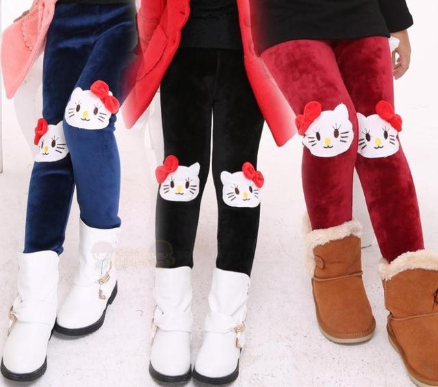 2015 новый зима теплая девушка узкие брюки, Дети девочки мультфильм свободного покроя брюки, Детские брюки