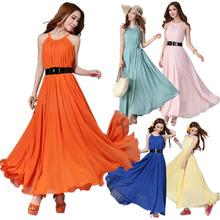 Fashion Women Maxi Long Chiffon Sun Beach Ball Gown Evening Party Dress 6 Colors(China (Mainland))
