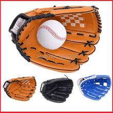"Free shipping 1pcs 10.5''11.5""12.5"" Baseball Glove Softball Mitts Brown Youth Outdoor Team Sports Left Hand+FREE one baseball(China (Mainland))"