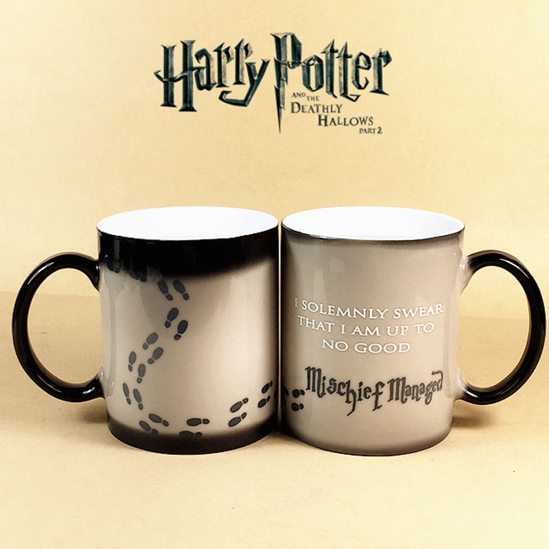 Harry Potter Mugs Color Changing Cup,I Solemnly Swear That I Am Up To No Good Mischief heat changing color transforming tea Cups(China (Mainland))