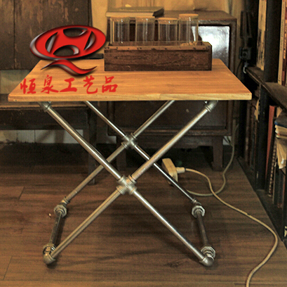 Simple plumbing industry retro wood coffee table tea table combines creative personality small kitchen table, coffee table casua(China (Mainland))