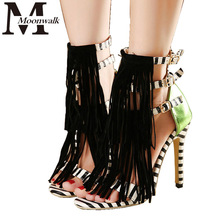 2015 Summer Style Tassel Sandals For Women Gladiator High Heel fringe sandals Sexy Stripped ladies Shoes Brand Designers ZY609(China (Mainland))