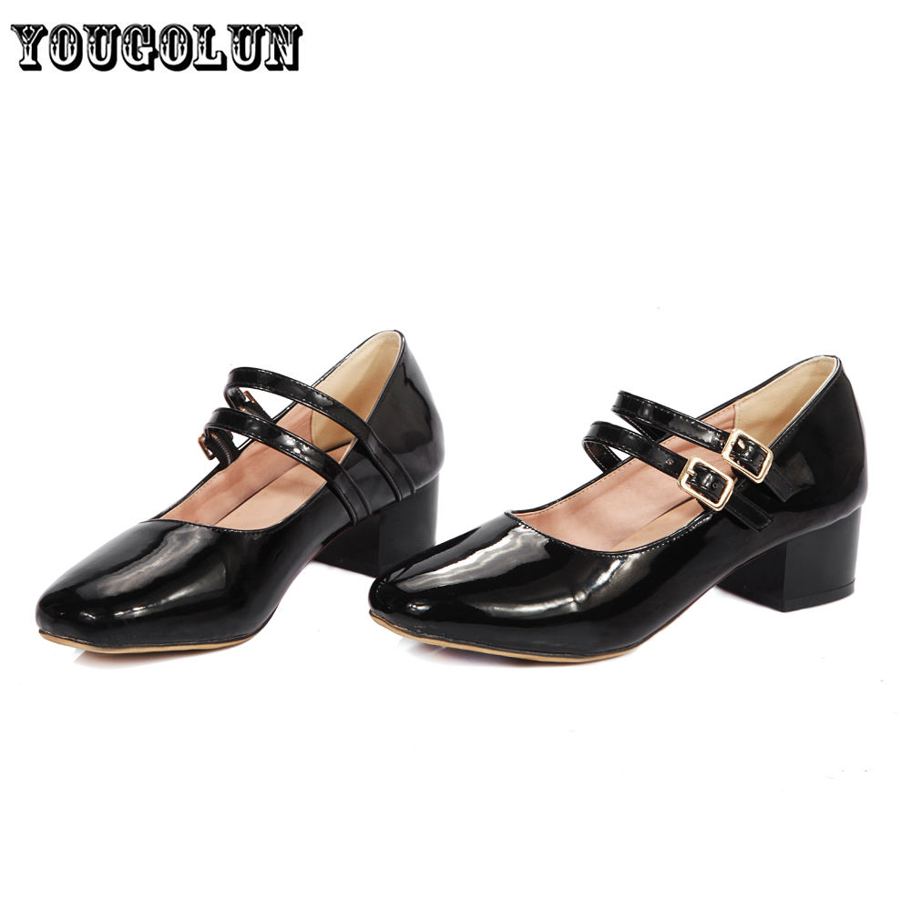 2016 Fashion patent black white gray Women heels Pumps ladies summer woman mary janes shoes womens square toe casual party shoes
