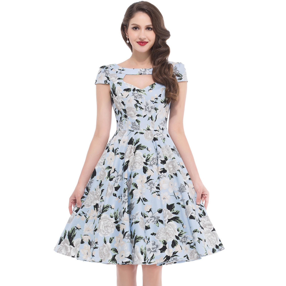 1950s Vintage Dresses Floral Dress Summer Casual Cut Out Belle Poque Robe Retro Short Sleeve Tunic Swing Pin Up Women Clothing(China (Mainland))