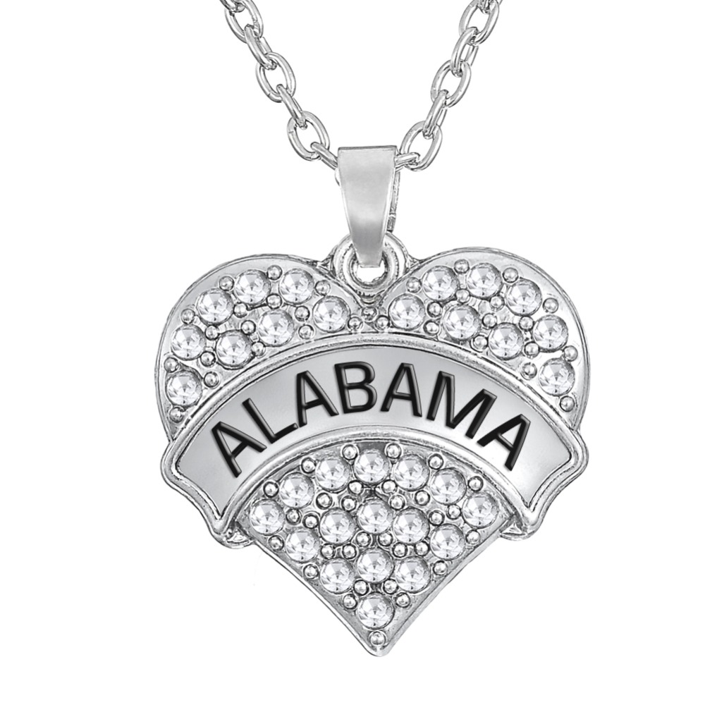 My Shape pave white crystal stone engrave Alabama jewelry heart pendant link chain rhodium plated necklace(China (Mainland))
