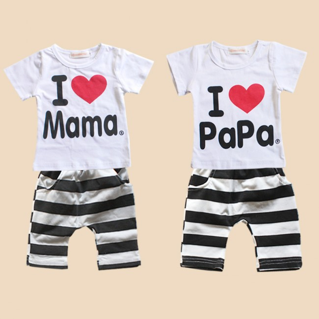 EMS DHL Free shipping 10 sets/lot (2design x 5 sizes), baby girls Stripe Love Mama Suit children 2pc Set Casual Suit(China (Mainland))