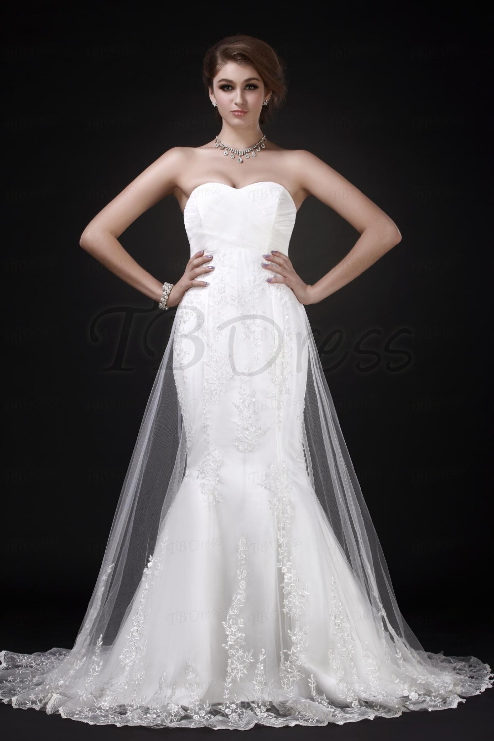 White charming mermaid trumpet sweetheart neckline chapel for Mid length wedding dress