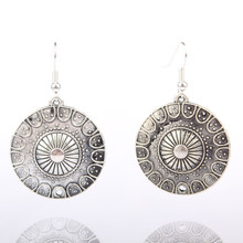 Round Circle Pendant Earrings For Women Bronze Alloy Ethnic Earrings Jewelry Vintage Accessories Boucle D'oreilles E0812