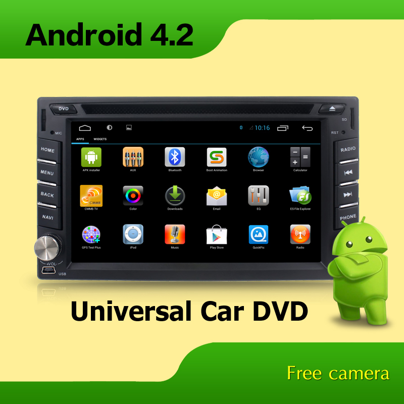 Pure Android 4.2 Two Din Universal Car DVD Video Player with Touch Screen Radio RDS FM/AM Audio Bluetooth Handsfree Support SWC(China (Mainland))