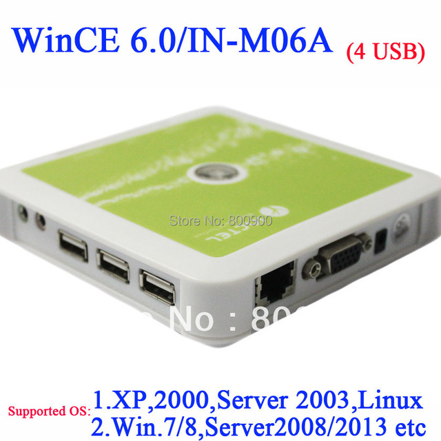 N380 windows thin client with CE 6.0 4*usb port support USB printer touchkit touchscreen 5V2A low power consumption white color