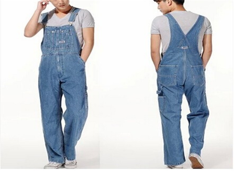 Men's casual loose bib overalls Male plus large size 28-42 denim jumpsuits Huge pants Free shipping