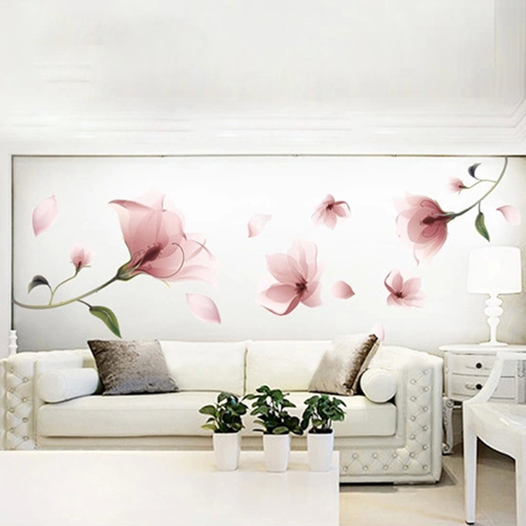 New Romantic Elegant Frosted Pink Lily Flower Petal Removable Wall Sticker Bedroom Living Room Home DIY(China (Mainland))