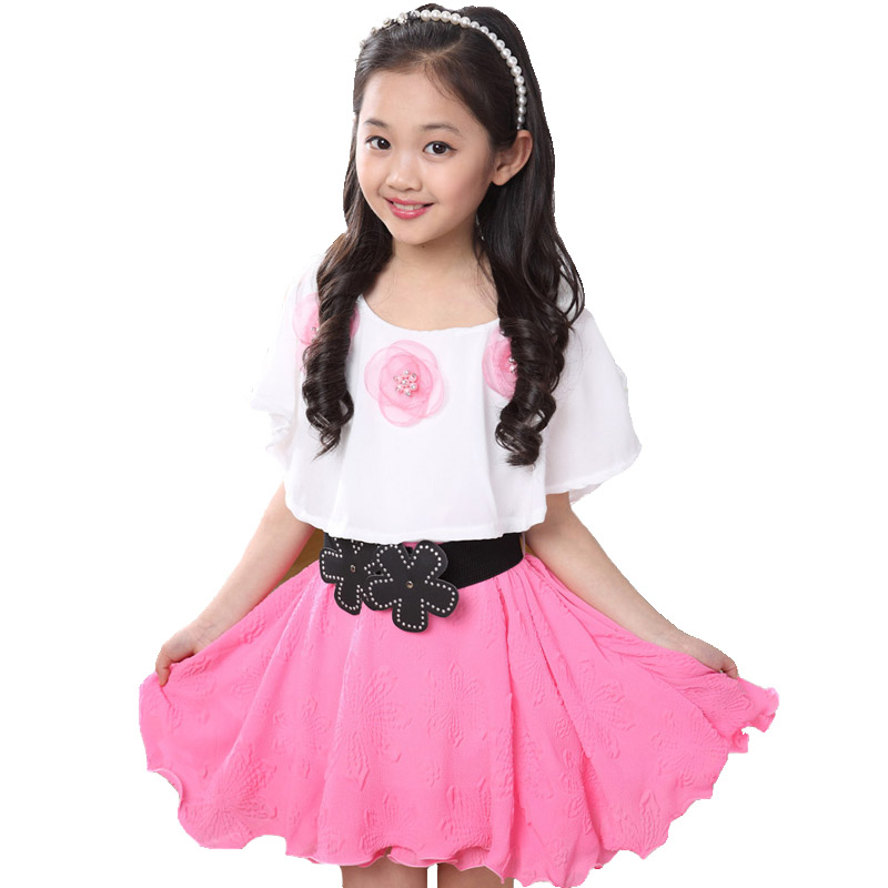 Summer 2015 New Casual Cotton Lace Girl Dress Baby Girls Clothes Flowers Girl Print Dresses Vestido Infantil Kids Clothes(China (Mainland))