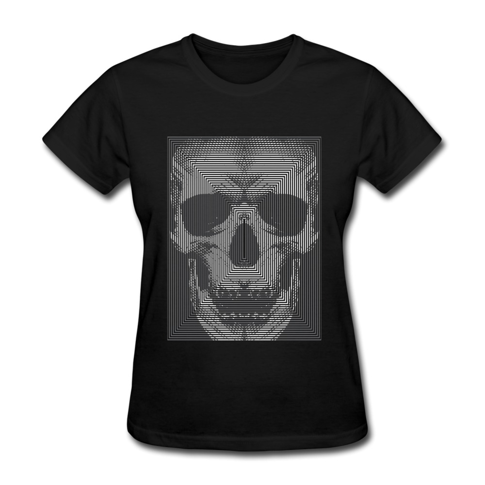 Design solid t shirt women mirror skull fun symbols women for T shirt design wholesale