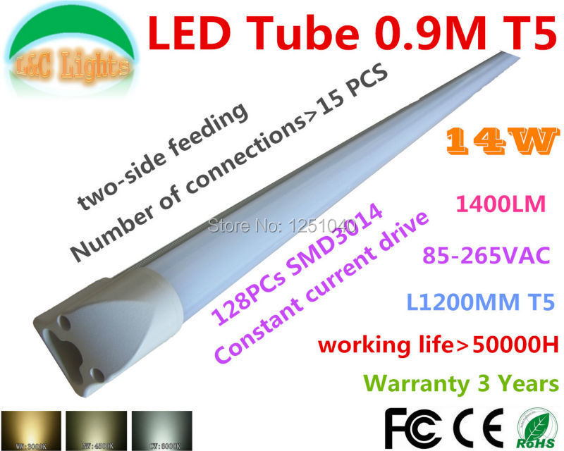 0.9M LED Integration T5 tube 128PCs 3014 14W 900mm 1400LM Replace the 30w fluorescent lamp,CE RoHS,Two-side feeding,10PCs a Lot(China (Mainland))