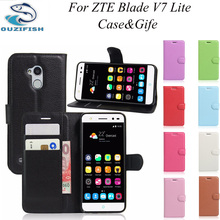 (OUZIFISH)Luxury PU Leather Back Cover Case ZTE Blade V7 Lite Flip Protective Phone Bag Skin - OuZiFish 3C Store store