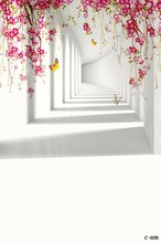 Vinyl photography backdrop Wedding Portrait Studio Backdrop Digital fantasic Cartoon 3D white wall Butterflies flower Background(China (Mainland))