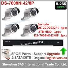Buy Hikvision DS-7608NI-I2/8P Network Video Recorder Play H.265 + 2TB HDD + 4pcs Hikvision DS-2CD2032F-I 3MP Bullet IP Camera for $904.20 in AliExpress store