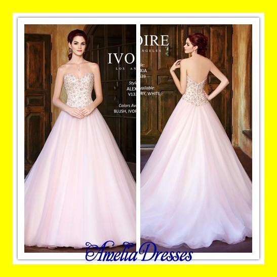 Short Sexy Wedding Dresses Pink Dress Summer Beach Strapless A-Line Floor-Length Court Train Beading Sweethea 2015 Free Shipping(China (Mainland))