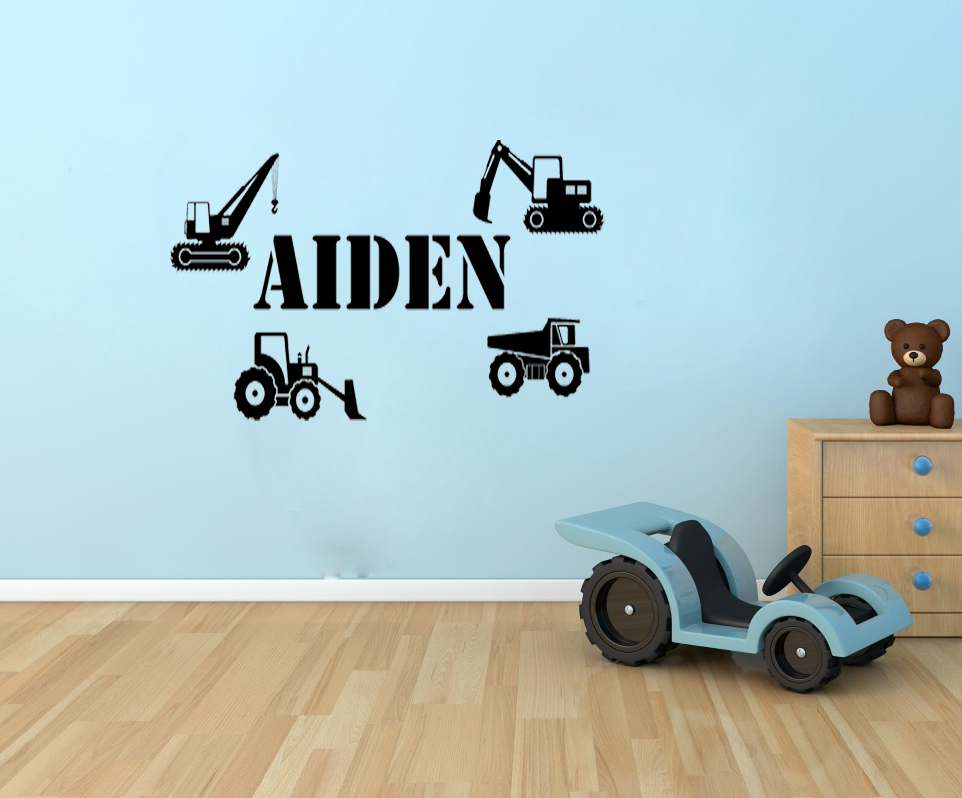 Personalized Name Custom wall art decals boys big trucks - Say Quote Word Lettering Art Vinyl Sticker Decal Home Decor Words(China (Mainland))