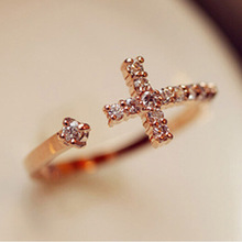 The New Exquisite Gold Plated Cross Adjustable Alloy Ring Korean Fashion Jewelry fashion rings rings for women