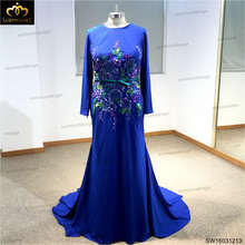 Muslim Long Sleeve High Neck Dress Full back Hand Embroidery Zipper Straight Court Train Prom Dress 2016(China (Mainland))