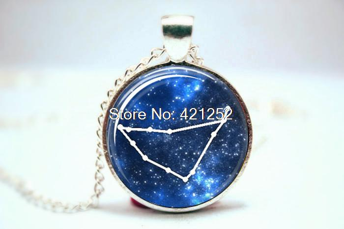 10pcs/lot Capricorn Zodiac Pendant Horoscope Astronomy Astrology Zodiac Glass Photo Cabochon Necklace(China (Mainland))