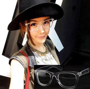 free shipping crystal fashion vintage plastic crystal full transparent frame large frame eye glasses frames for
